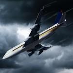 Diving plane dark rain clouds